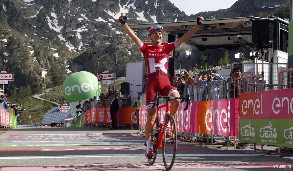 Rein Taaramae (Katusha), winner of Stage 20 of the 2016Giro d'Italia, from Guillestre to Sant'Anna di Vinadio. Photo LB/RB/Cor Vos.