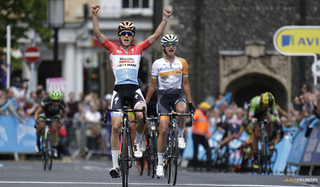 Christine Majerus (Boels-Dolmans) is the winner of the first stage in the 2016 Aviva Women's Tour.