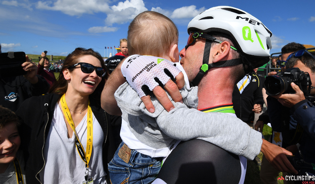 Mark Cavendish with his family after winning stage one of the 2016 Tour de France.