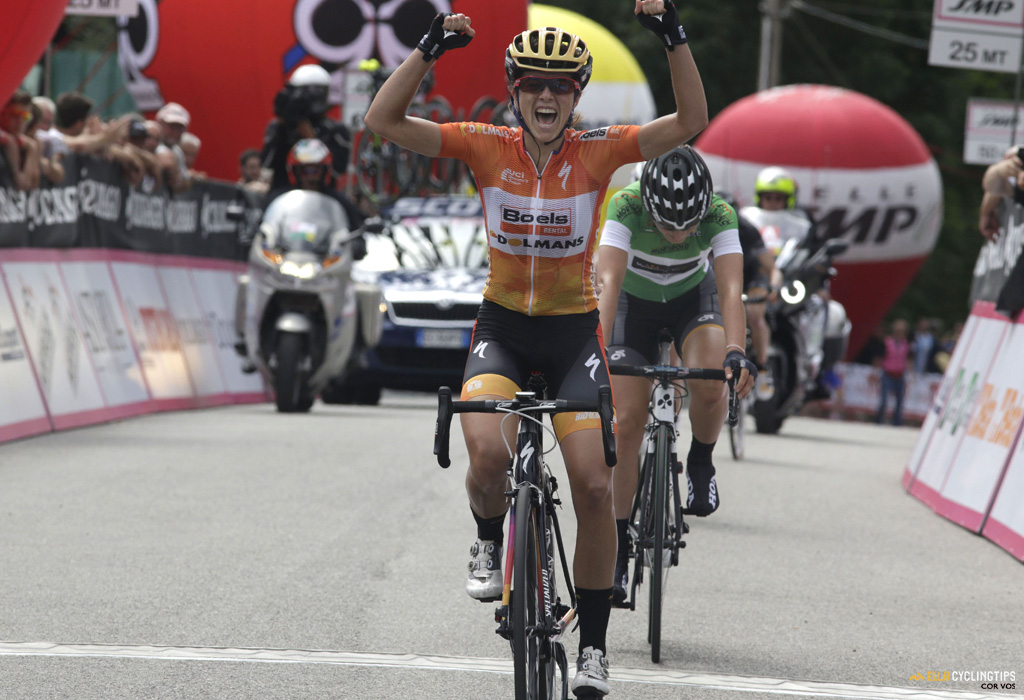 Victory for Evelyn Stevens (Boels-Dolmans) in stage 2 of the 2016 Giro Rosa!