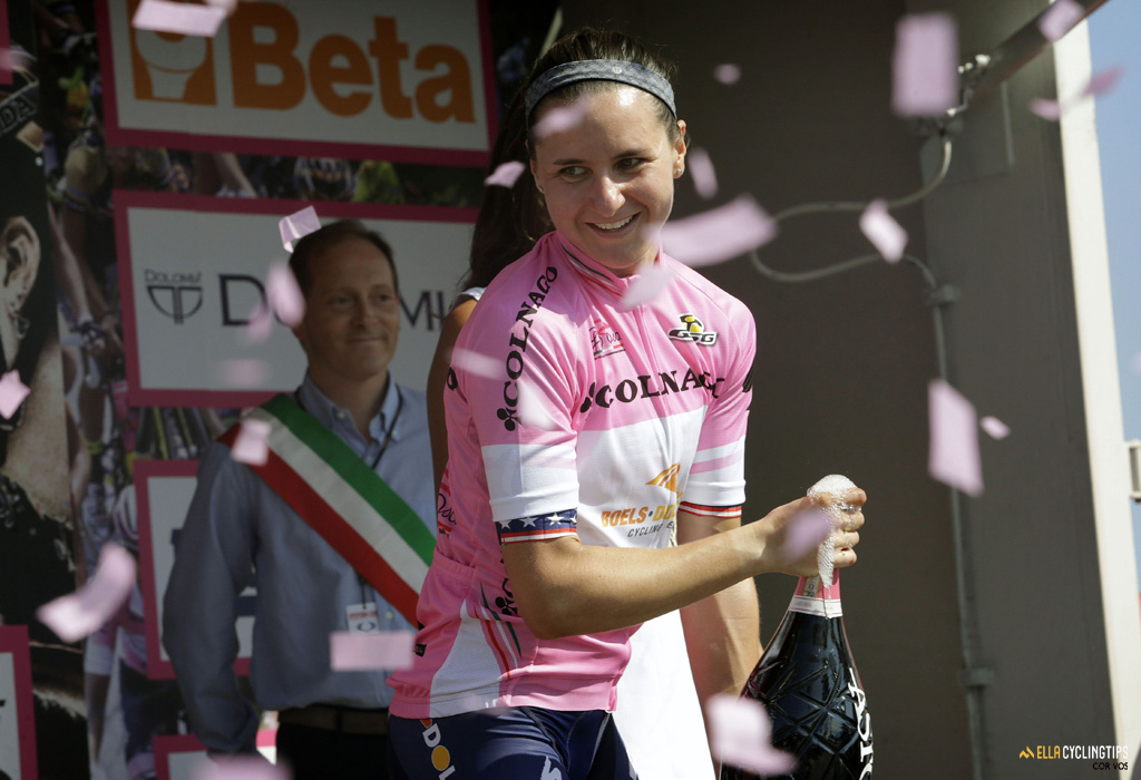 Back in pink! Megan Guarnier (Boels-Dolmans) leads the GC with 46 seconds to the number 2 Mara Abbott (Wiggle-Highg5), with three more stages to go.