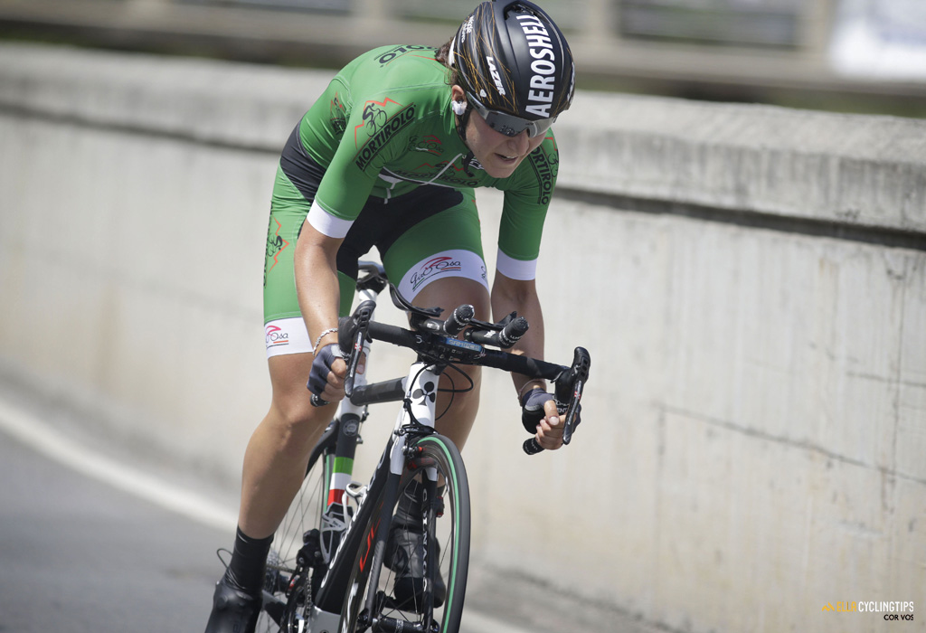 A very solid ride by Elisa Longo Borghini (Wiggle-High5) in the Giro Rosa TT, finishing second just 4 seconds behind Stevens.