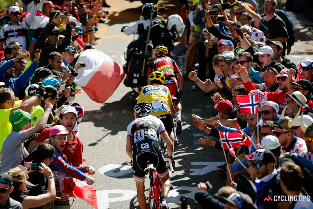 Bauke Mollema (Trek-Segafredo) follows Richie Porte (BMC Racing Team) and Chris Froome (Sky) shortly before all three are brought down by a race motorbike on Mont Ventoux