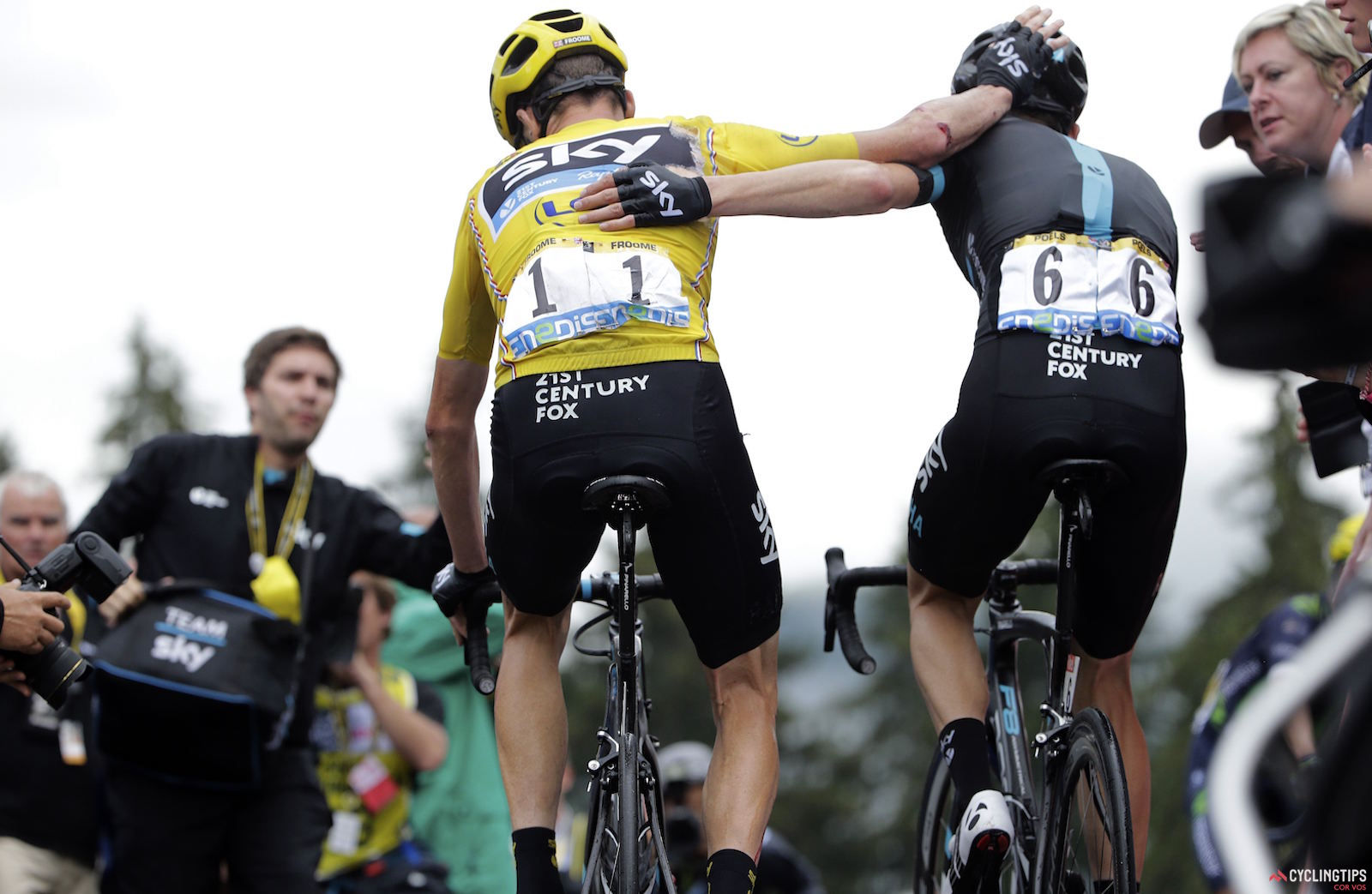 Chris Froome and Wout Poels (Team Sky), following stage 19 of the 2016 Tour de France. Photo JdM/PN/Cor Vos.