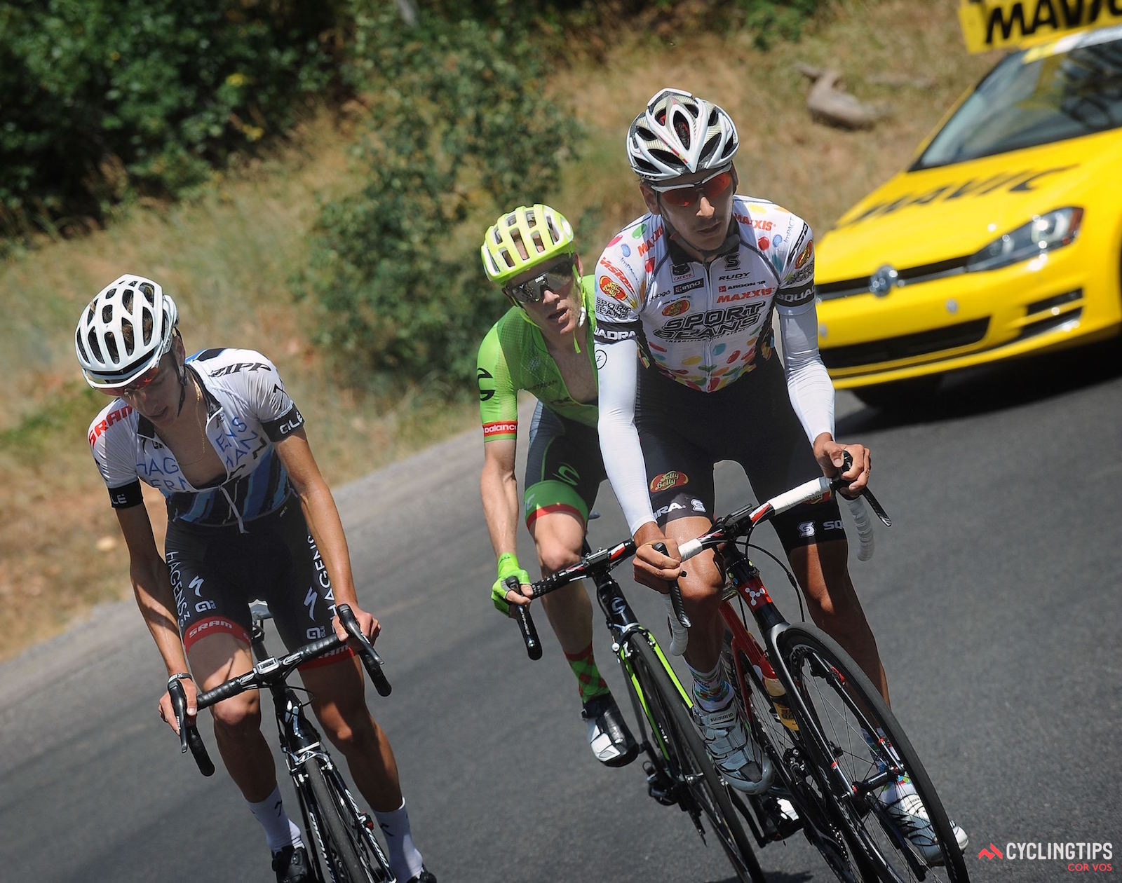 Adrien Costa (Axeon Hagens) climbing alongside Lachlan Morton (Jelly Belly) and Andrew Talansky (Cannondale-Drapac) on stage three of the 2016 Larry H. Miller Tour of Utah.