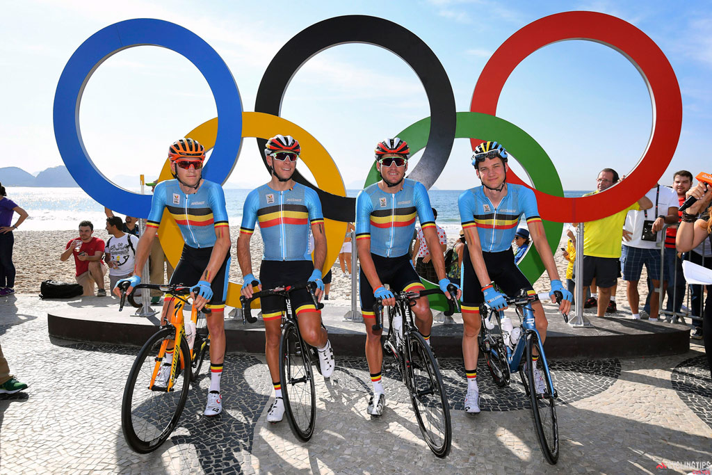 The ultimately-victorious Belgian team at the men's Olympic road race in Rio