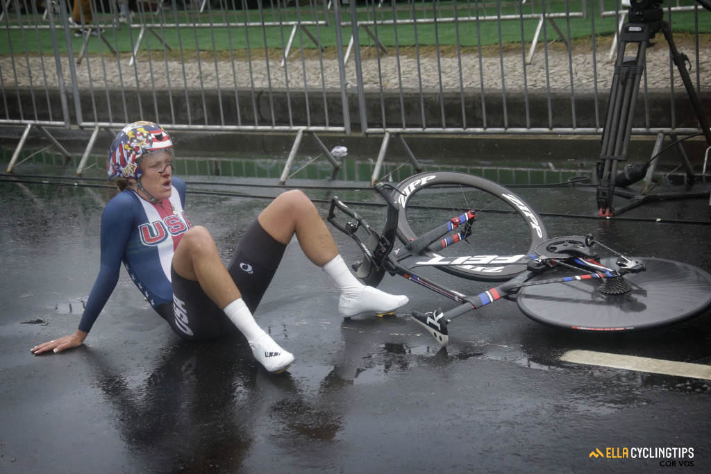 Armstrong came across the finish with a nose bleed and fell to the ground in exhaustion.