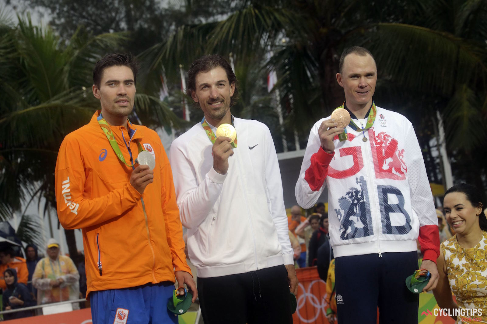 The podium of the 2016 Olympic time trial, from left: Tom Dumoulin (The Netherlands), Fabian Cancellara (Switzerland), Chris Froome (Great Britain). Photo: Anton Vos/Cor Vos.