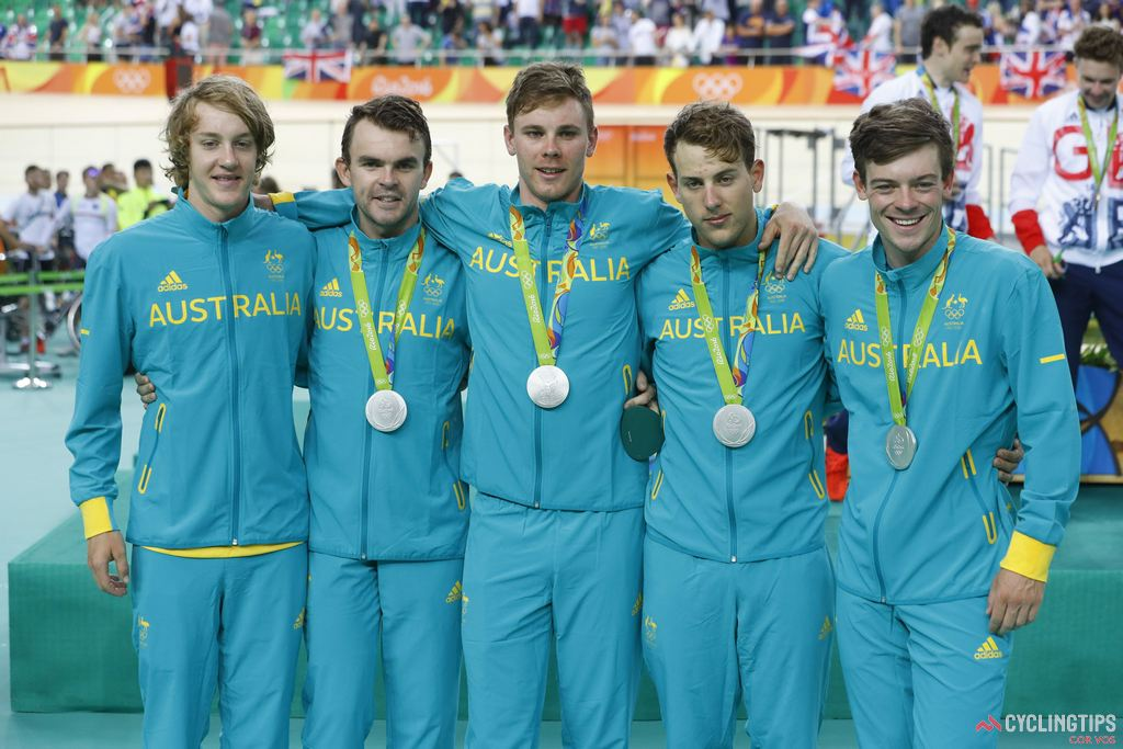 Bobridge (second from left) with his team pursuit teammates after winning silver at the Rio Olympics.