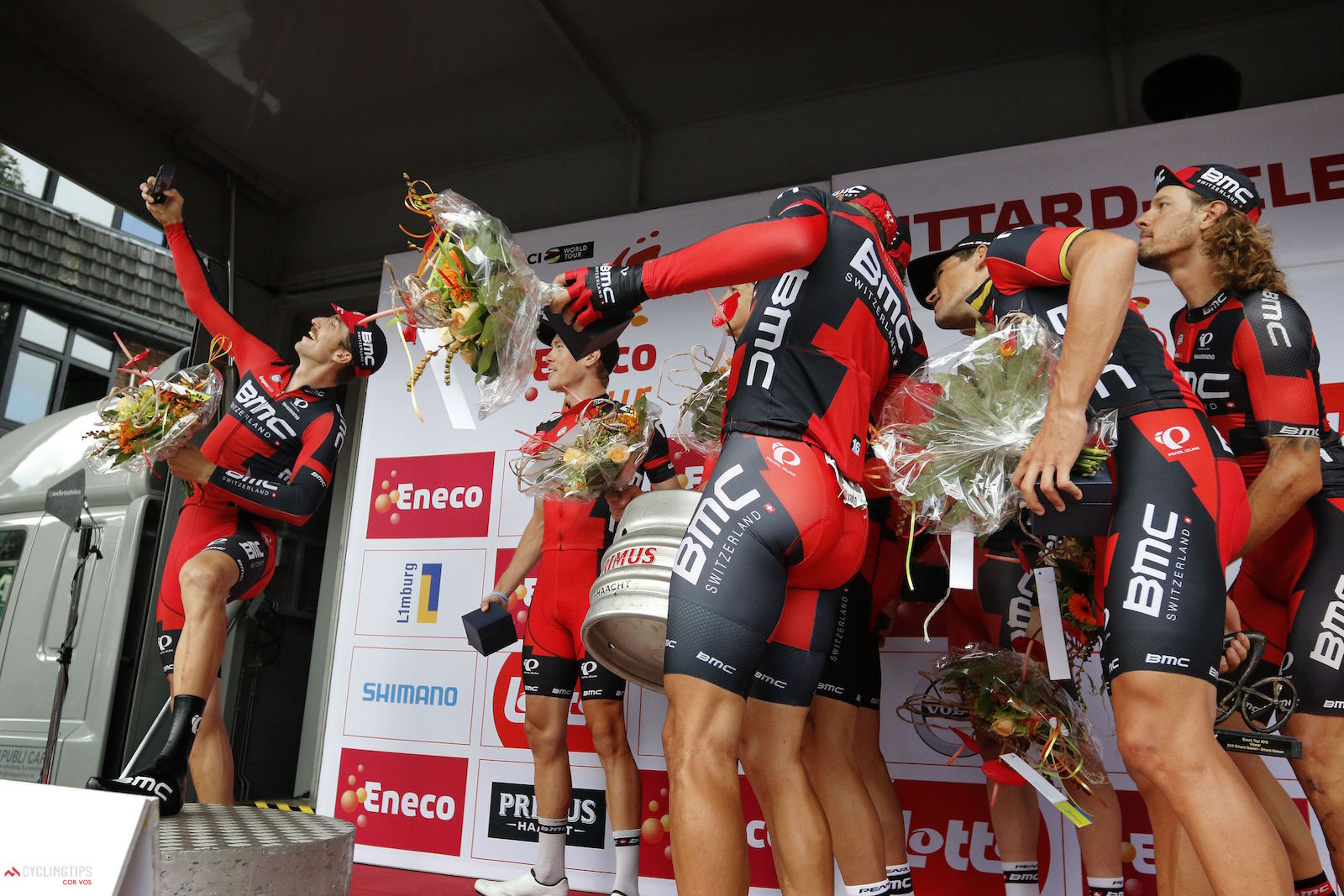 Taylor Phinney (BMC Racing) took a selfie with his BMC Racing teammates after winning the Stage 5 team time trial at the 2016 Eneco Tour. Photo Davy Rietbergen/Miwa iijima//Cor Vos.