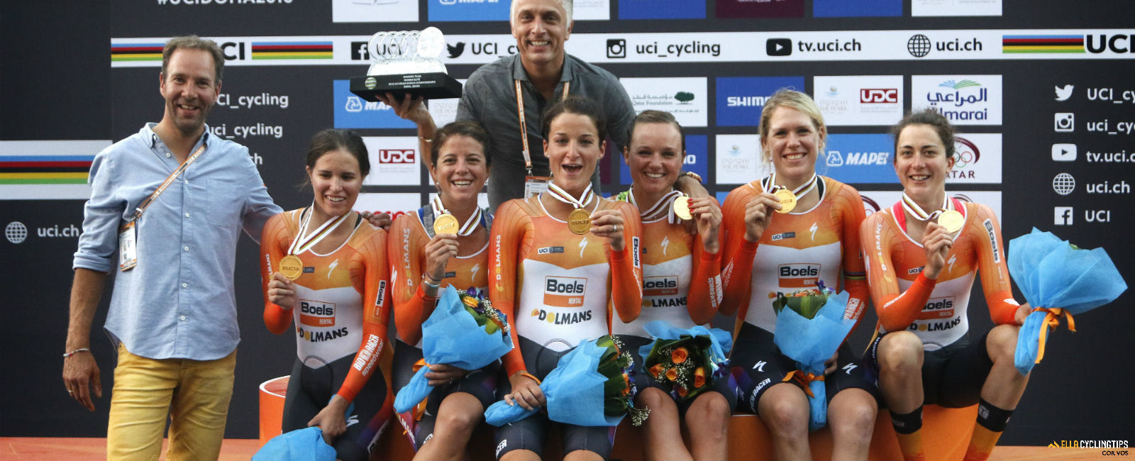 Your 2016 UCI Women's Team Time Trial World Champions.: Boles-Dolmans.