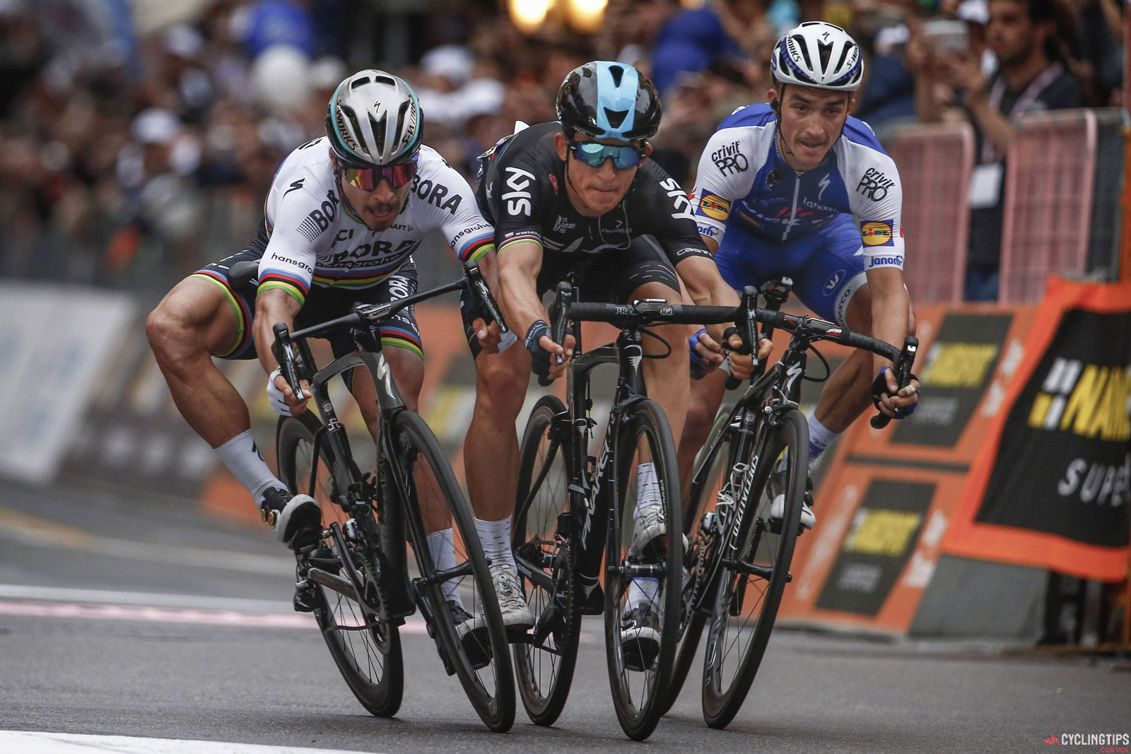 Alaphilippe made the winning move in this year's Milan-San Remo and finished third behind Kwiatkowski and Sagan.