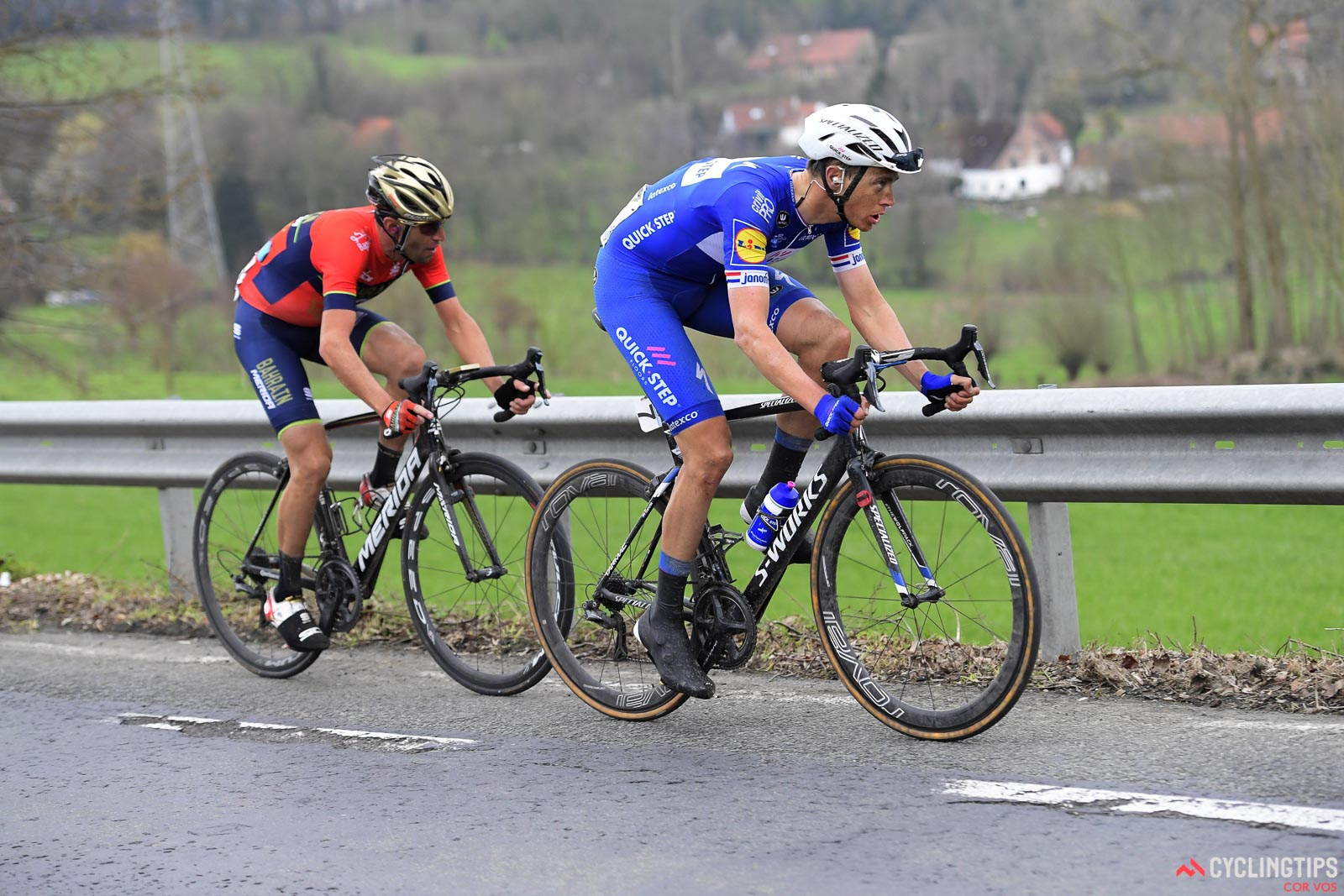 Niki Terpstra and Vincenzo Nibali in the 2018 Tour of Flanders