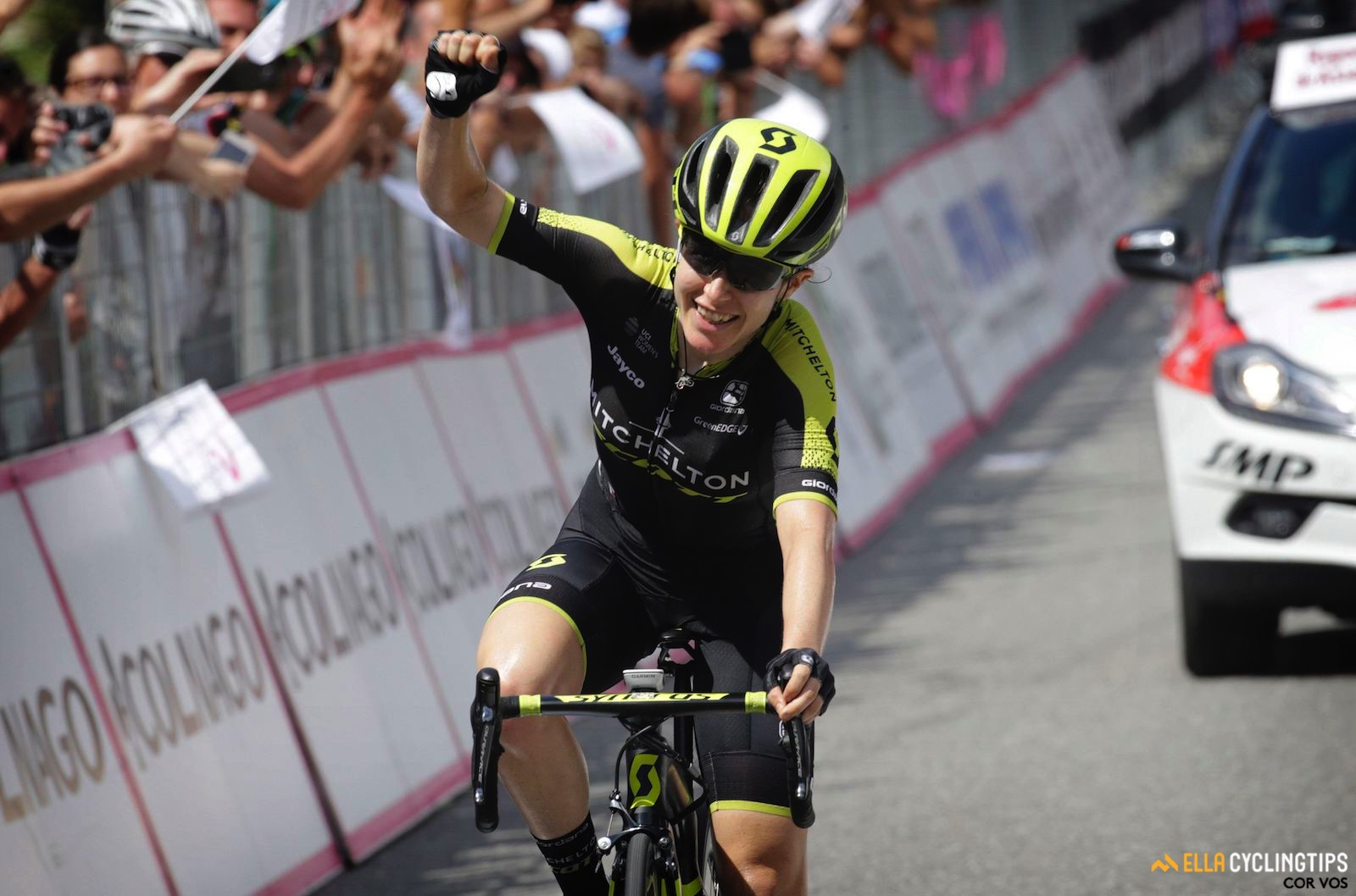 Amanda Spratt rides into pink on stage 6. Picture Cor Vos