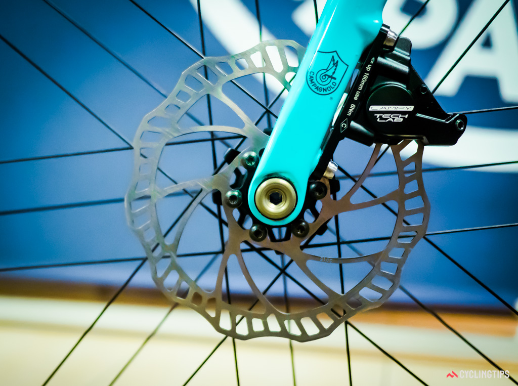 All of Campagnolo's rotors appeared to be cut from steel with no special measures for heat dissipation.