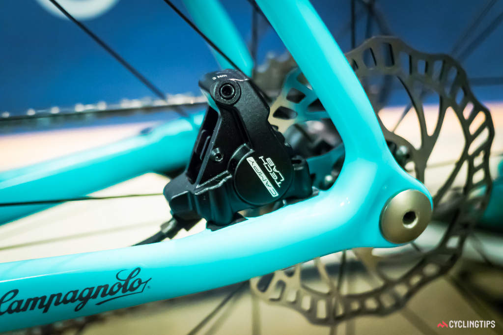 Campagnolo's prototype disc-equipped wheelsets are compatible with thru-axles.