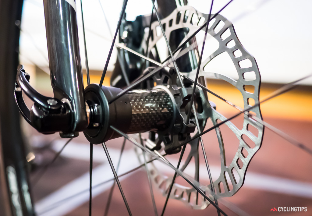 All of the prototype wheelsets had composite front hubs.