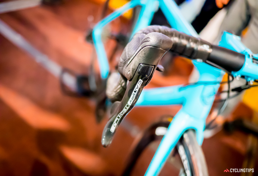 Campagnolo's prototype hydraulic disc brake lever coupled with mechanical shifters.