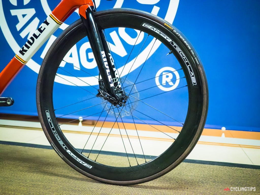 Campagnolo is using its G3 lacing pattern front and rear for its prototype disc-equipped wheels.