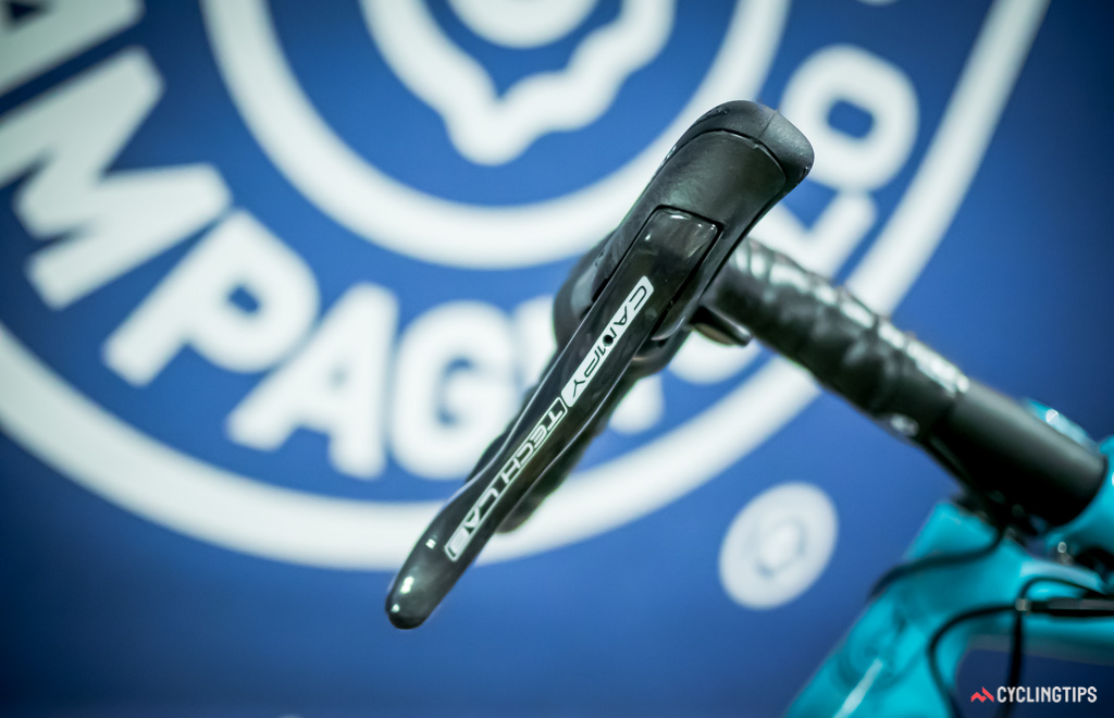Just like previous racing prototypes for the EPS system, Campagnolo's disc brake prototypes will wear the Campy Tech Lab logo.