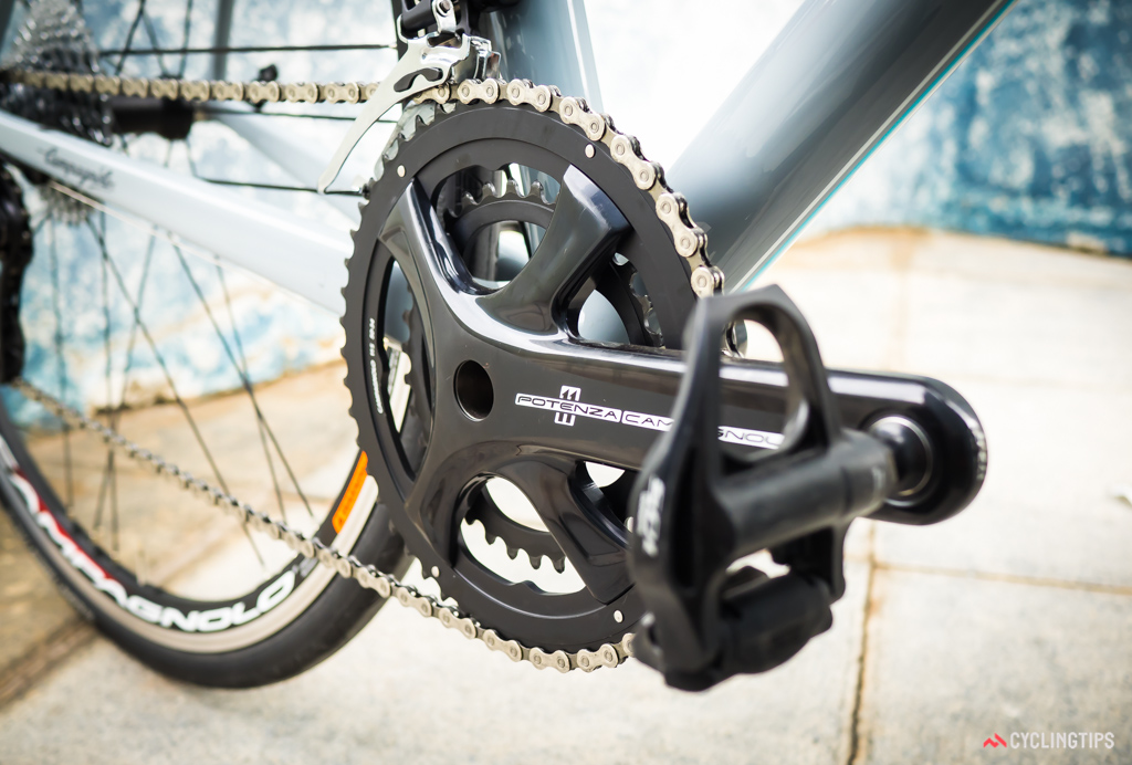 Campagnolo created an all-alloy version of their new four-bolt crankset for the Potenza groupset.