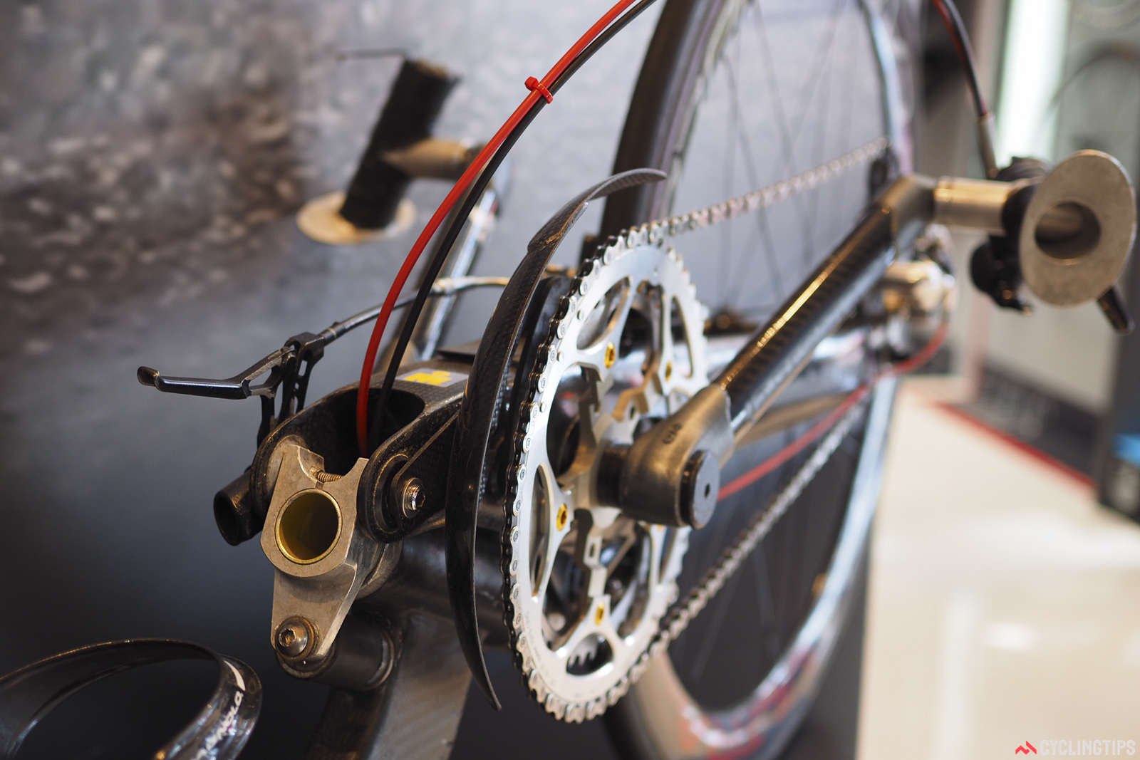 The drivetrain and brake controls are highly custom. Photo: James Huang.