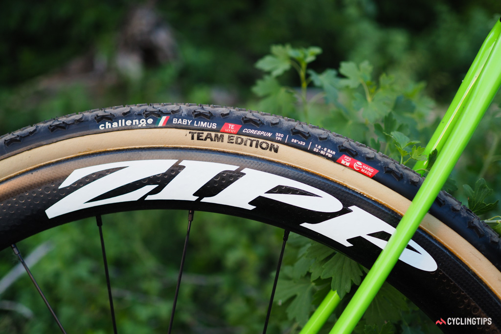 Cannondale actually specs Zipp 303 carbon tubulars and Challenge Team Edition Baby Limus tires on the top-end SuperX Team model.
