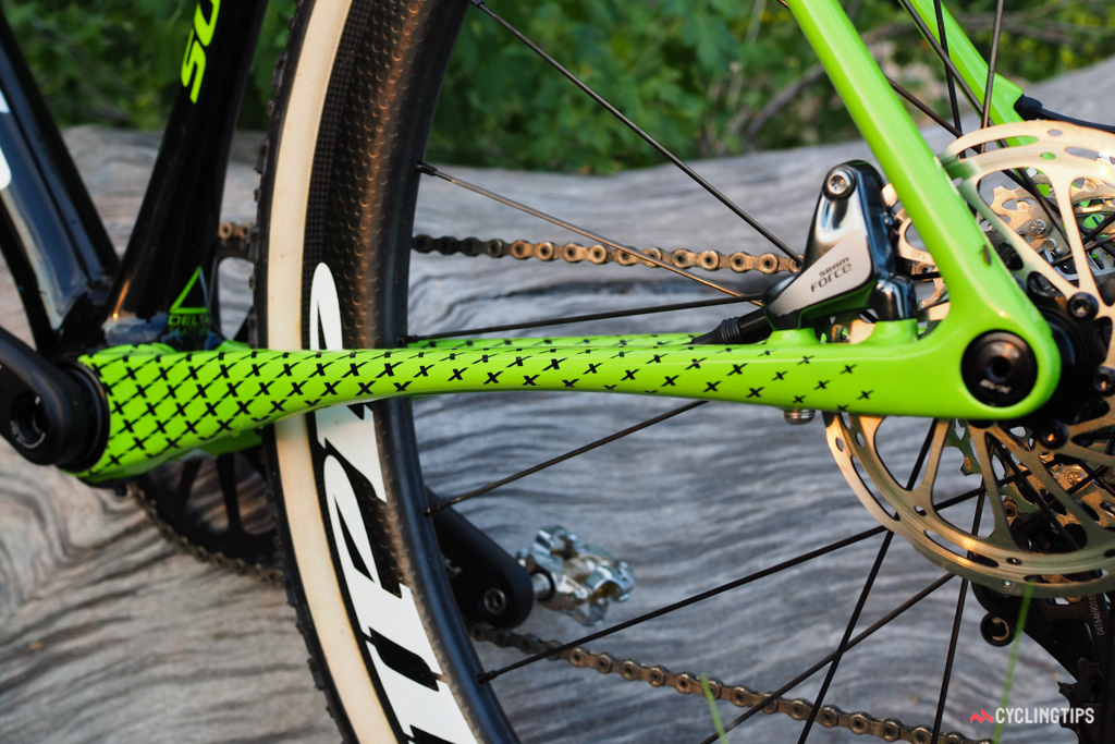 Dramatically flattened chainstays on the Cannondale SuperX help create flex zones in the rear end for a smoother ride.