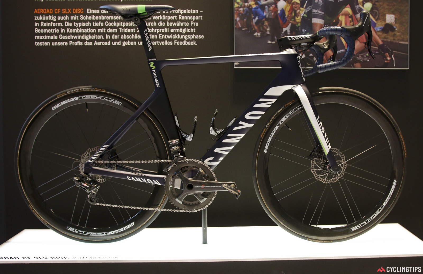 Next was the Canyon Aeroad CF SLX Disc as tested by Movistar. Those Campagnolo Discs... Photo: David Rome.