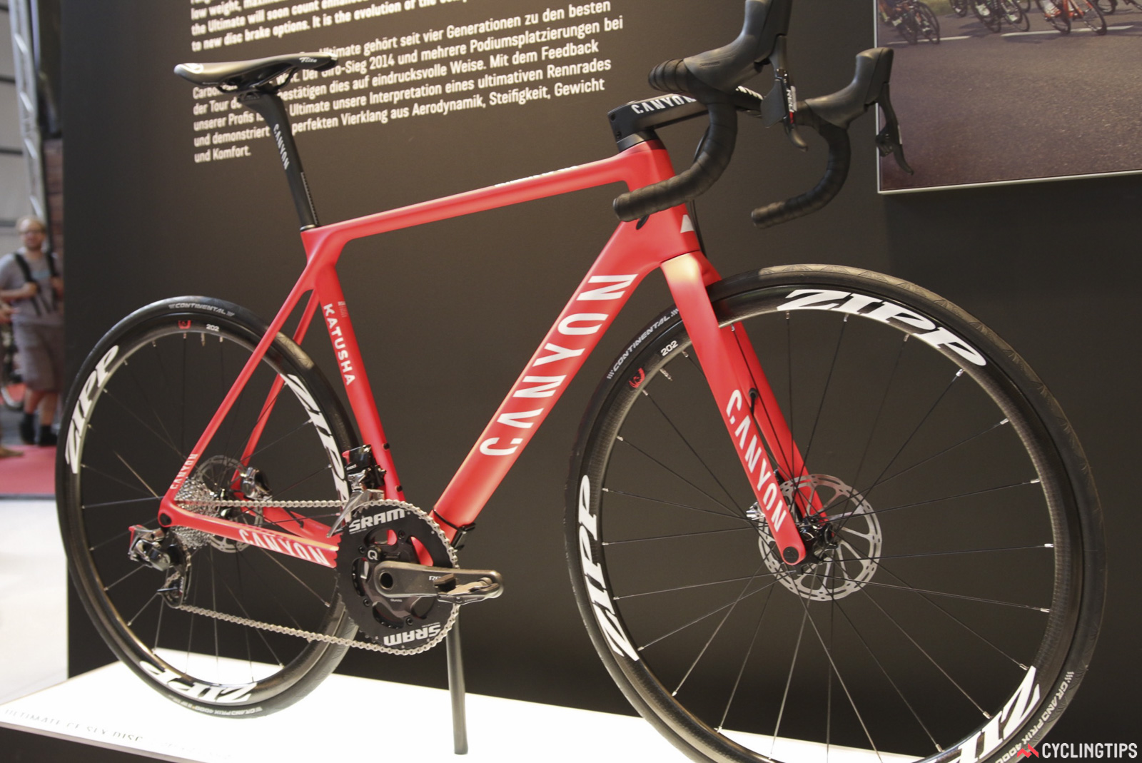 Canyon were teasing what the pros have been testing. First was the Ultimate CF SLX Disc as tested by Katusha. Photo: David Rome.