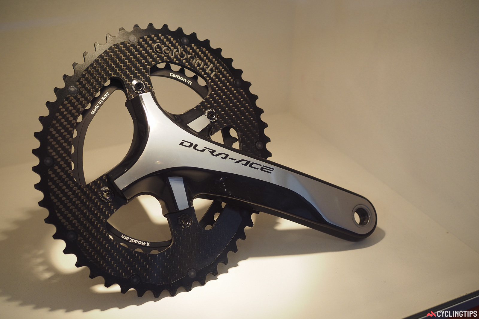 Italian company Carbon Ti offers its own take on non-round chainrings with a liberal dose of carbon fiber that sheds a surprising amount of weight. Moreover, they're also ramped and pinned for at least the promise of good shifting performance. Photo: James Huang.