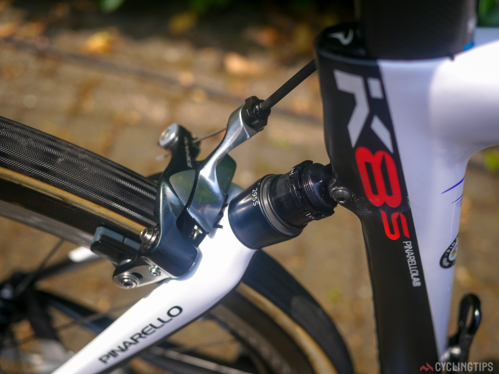 The Pinarello K8s was used during Paris-Roubaix this year by Thomas and Wiggins. The shock on the back is designed to help with smoothing out the cobbles rough surface.