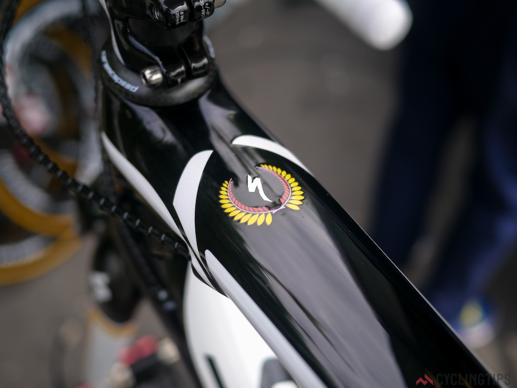 Contador's bike has a few neat little logo's scattered over his frame. It's all in the details.