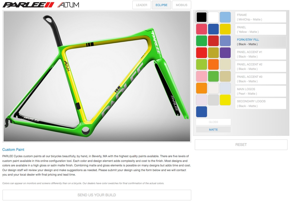 Buyers can use an online configurator to experiment with all of Parlee's options for a custom finish.