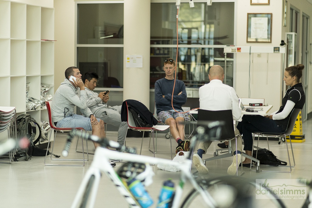 Looks like there was plenty of downtime for the riders between tests.