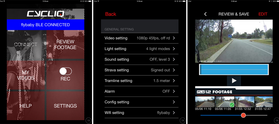 The CycliqPlus app gives the user easy access to all of the Fly12's functions plus a video editor.