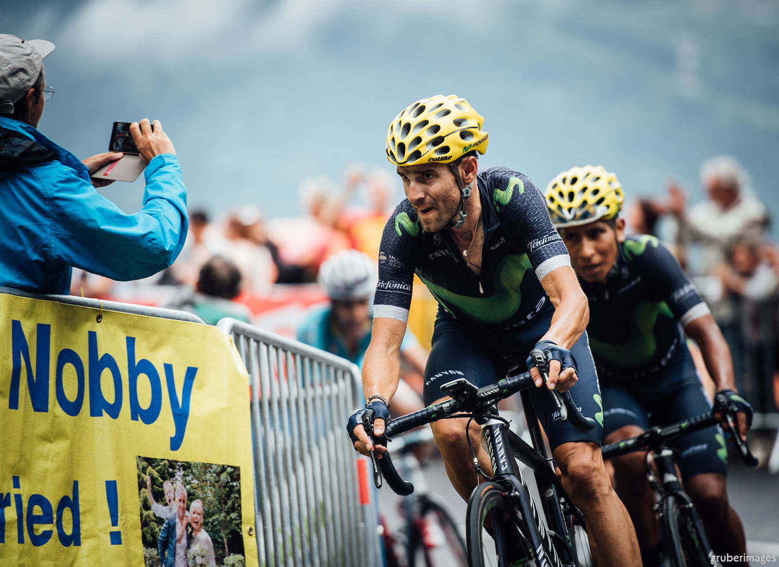 Movistar riders Alejandro Valverde and Nairo Quintana race towards the line on the final climb of Saint-Gervais Mont Blanc, stage 19 of the 2016 Tour de France.