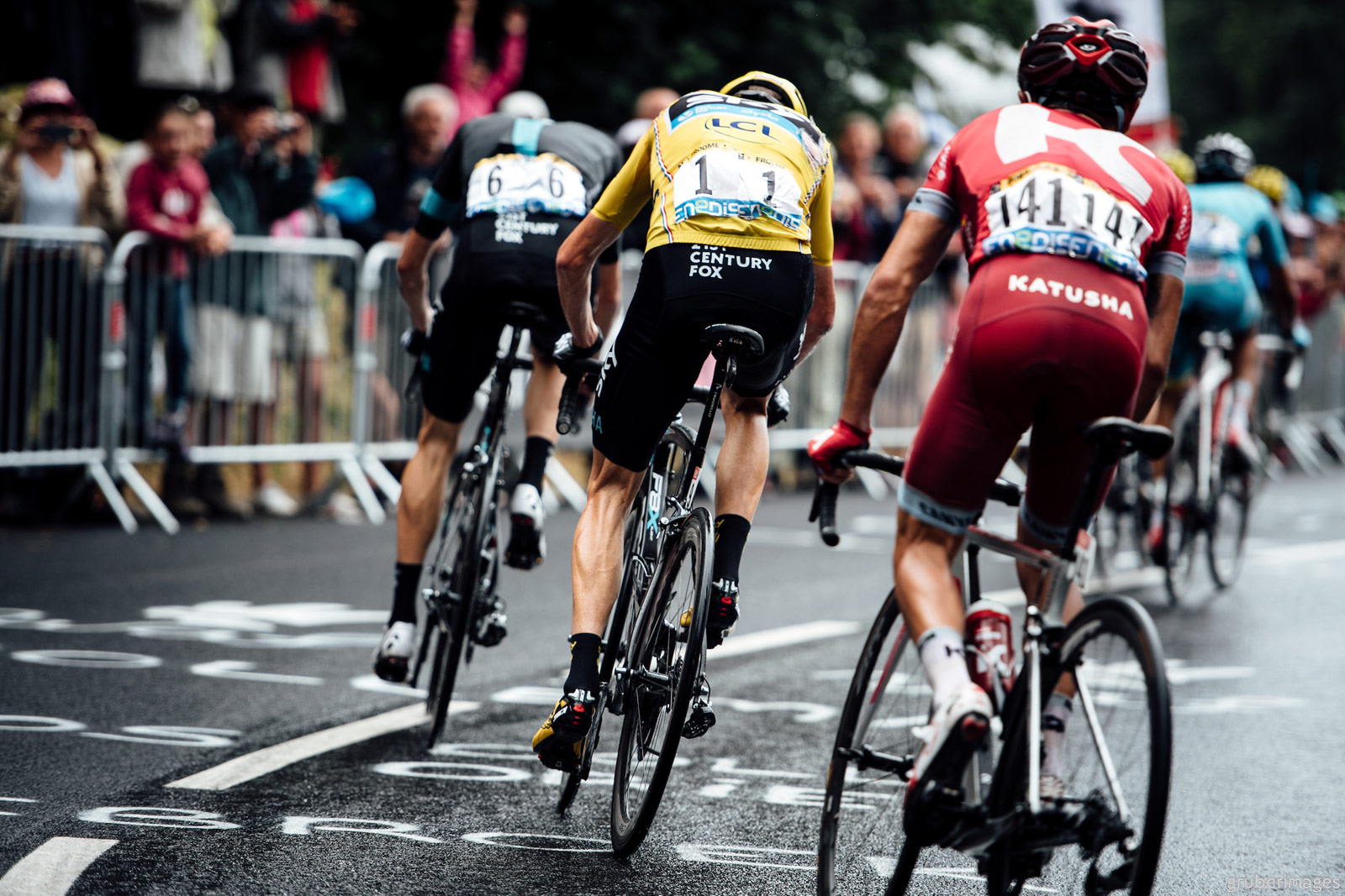 Race leader Chris Froome (Sky) and Joaquim Rodriguez (Katusha) on the final climb of Saint-Gervais Mont Blanc, stage 19 of the 2016 Tour de France, July 22.