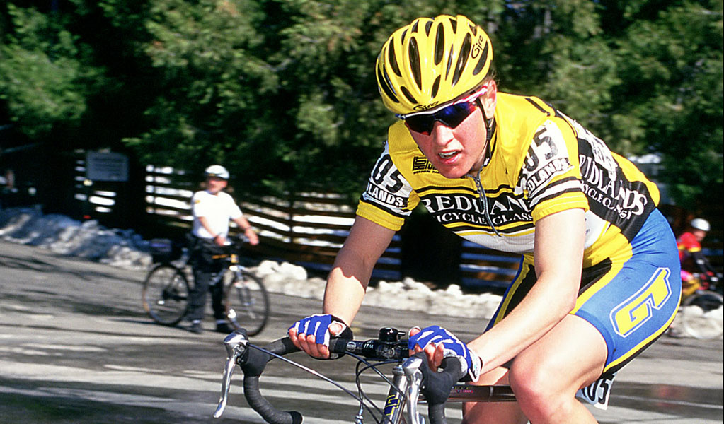 Alison Dunlap, riding for GT, near the summit of Oak Glen, 2000 Redlands Bicycle Classic. Photo: Casey B. Gibson.