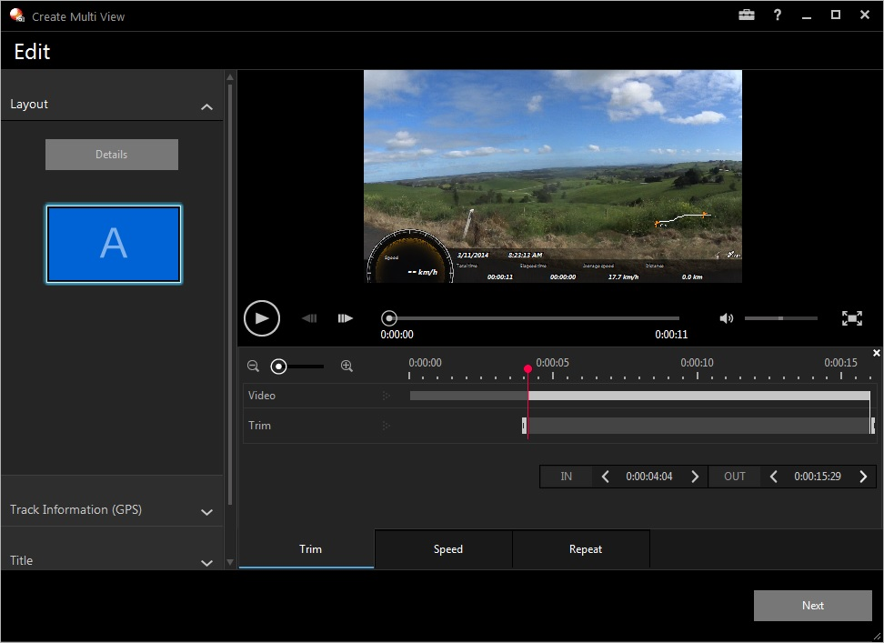 A screenshot of the PlayMemories Home video editing software.
