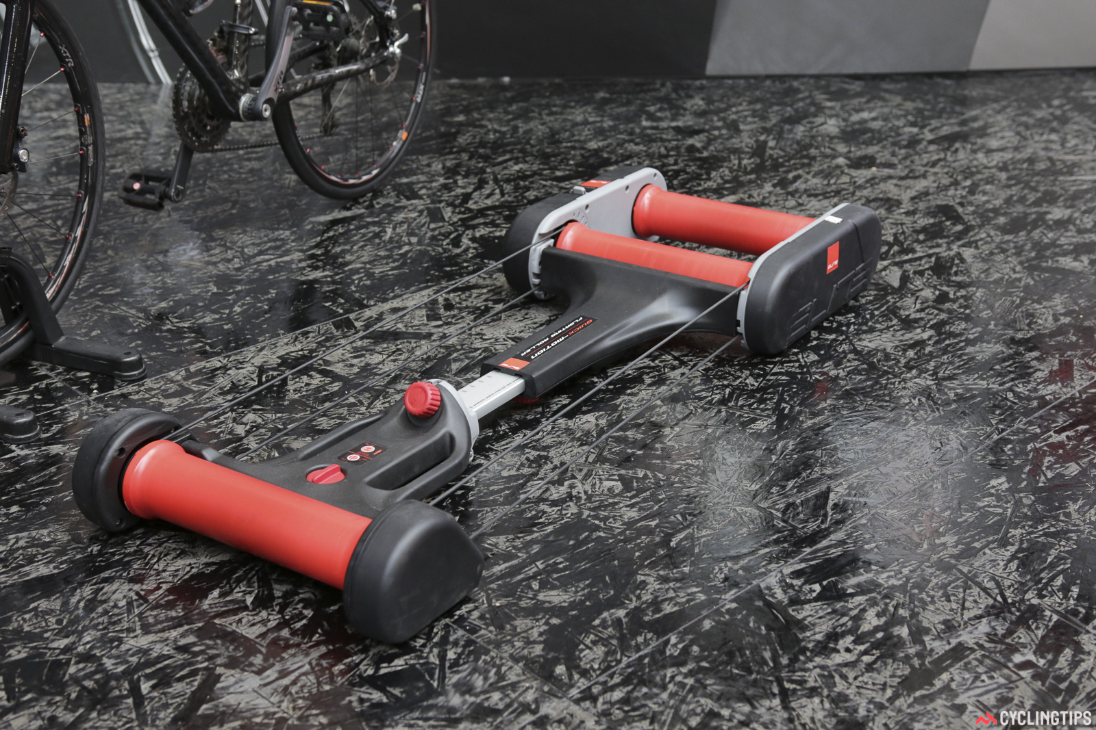 Winner of a EuroBike award, the Elite Quick Motion floating roller sure looks space-age. The floating nature is said to provide a more realistic feel, but also aid in balance. It fold in three parts for easy storage too. Photo: David Rome.