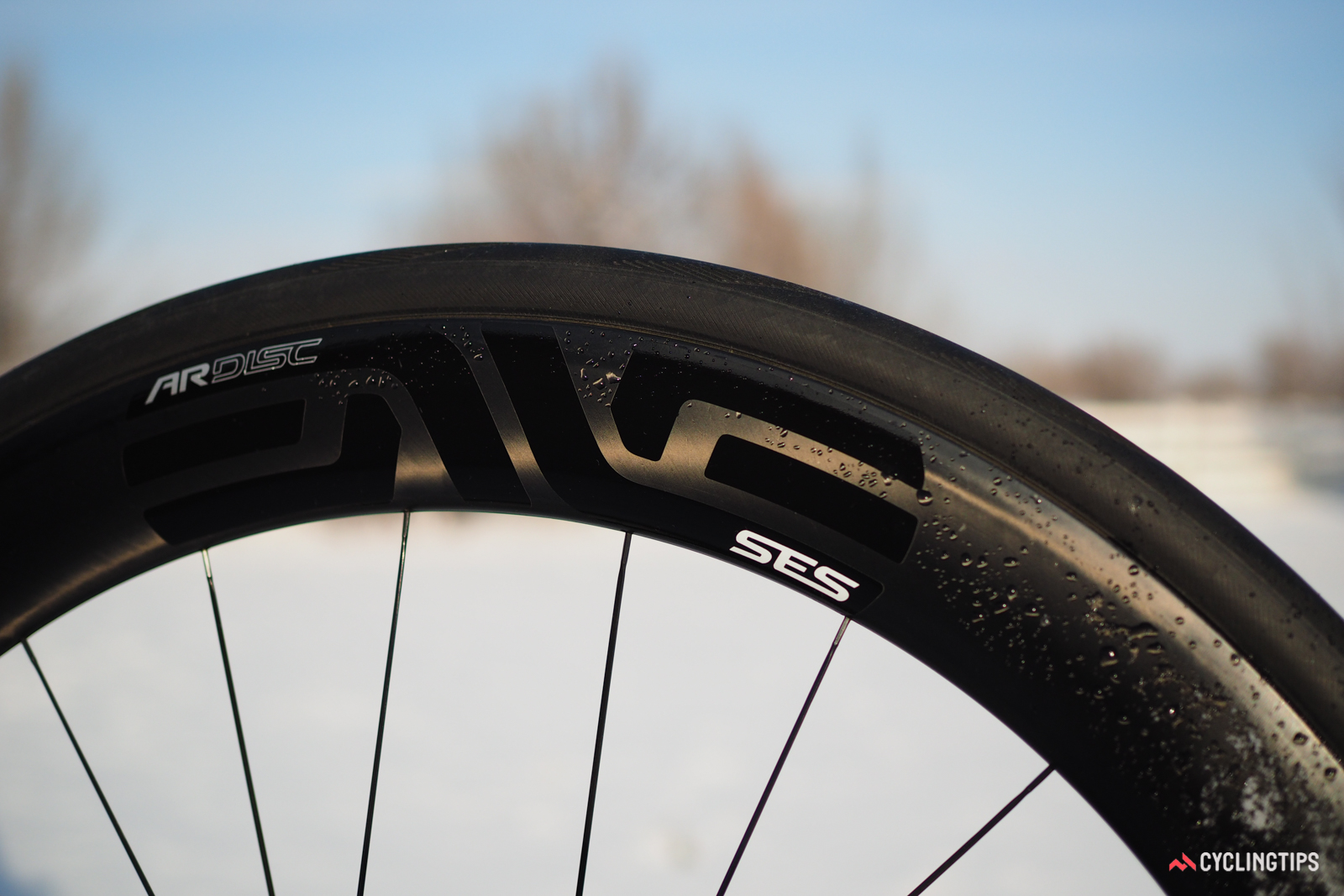 Wet weather is normally the Achilles' heel when it comes to braking on carbon rims, but with disc brakes, it isn't an issue. Enve was also able to make the 4.5 AR Disc rims remarkably light since there was no need for a brake track.