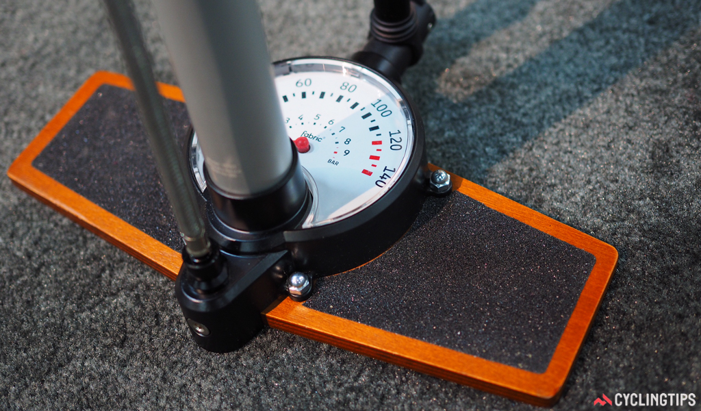 Fabric's new floor pump uses a real wooden base and a huge gauge for easy visibility.