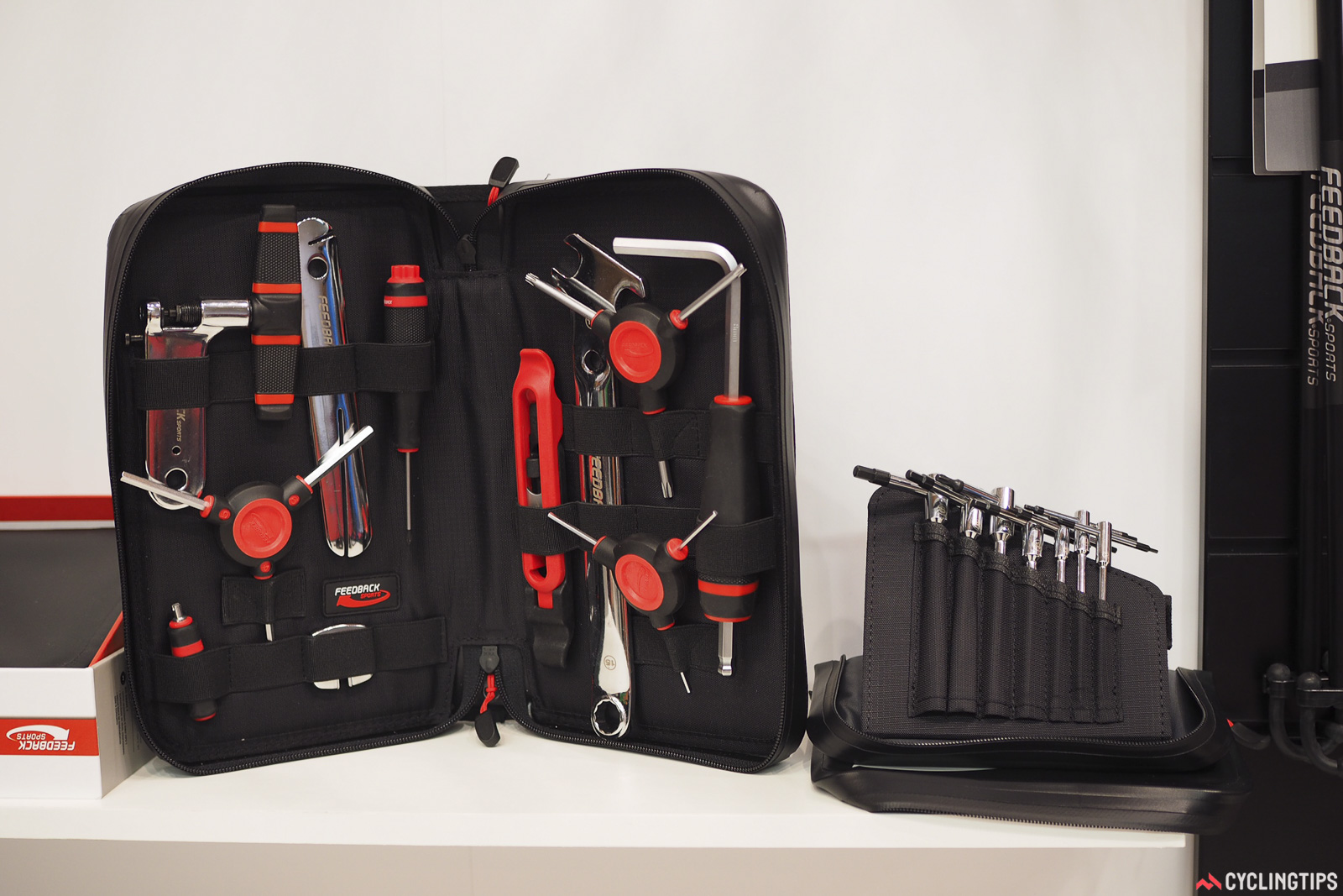 If your tool needs are a bit more modest, Feedback Sports will also offer the Ride Prep tool kit (at left) and the T-Handle set (at right), each costing US$129. Individual tools will be available as well once they start arriving in shops around September. Photo: James Huang.