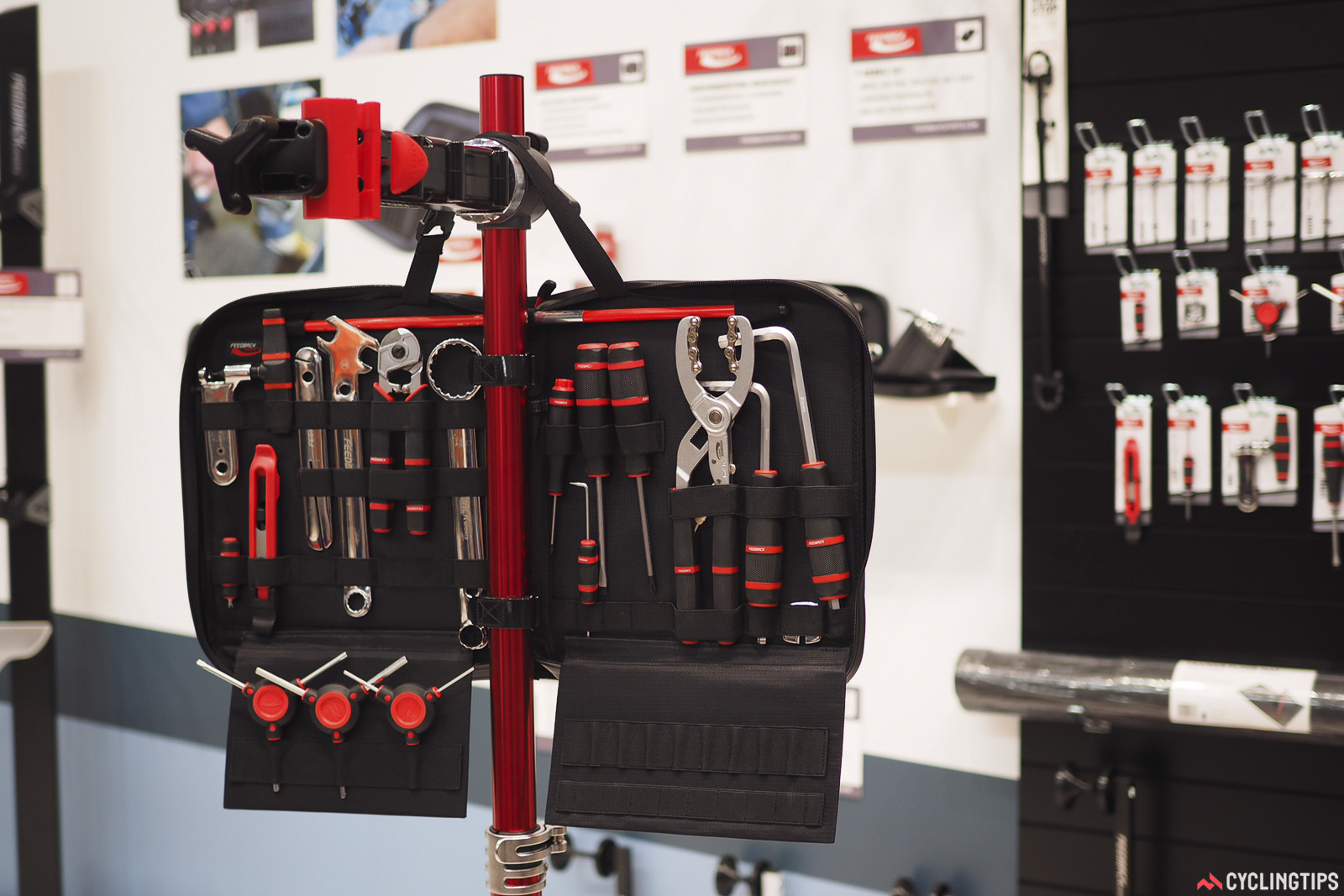 Feedback Sports has now expanded into hand tools. Headlining the collection is this top-end Team Edition kit, which can be used on its own, but is designed to conveniently mount to a Feedback Sports repair stand. Retail cost is US$250. Photo: James Huang.