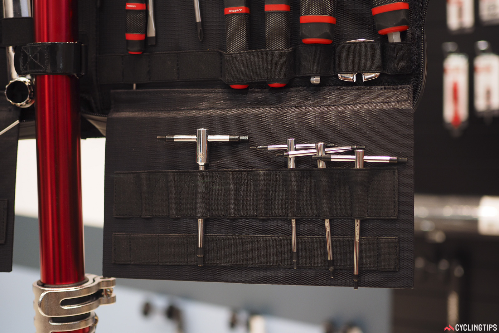 Although the Feedback Sports Team Edition tool kit already comes well stocked, there are a few empty slots left for additional tools depending on your needs (and budget), such as the company's new T-handle hex wrenches. Photo: James Huang.
