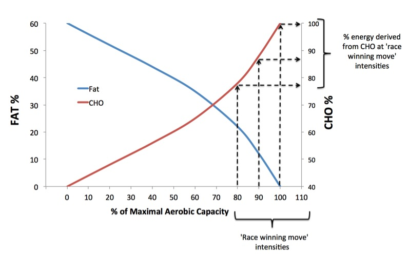 Figure 5. Relationship between relative intensity (as % of maximal aerobic capacity) and percentage energy derived from fat and CHO. 'Race winning move intensities' are always dependent on a high if not complete use of CHO to generate energy.