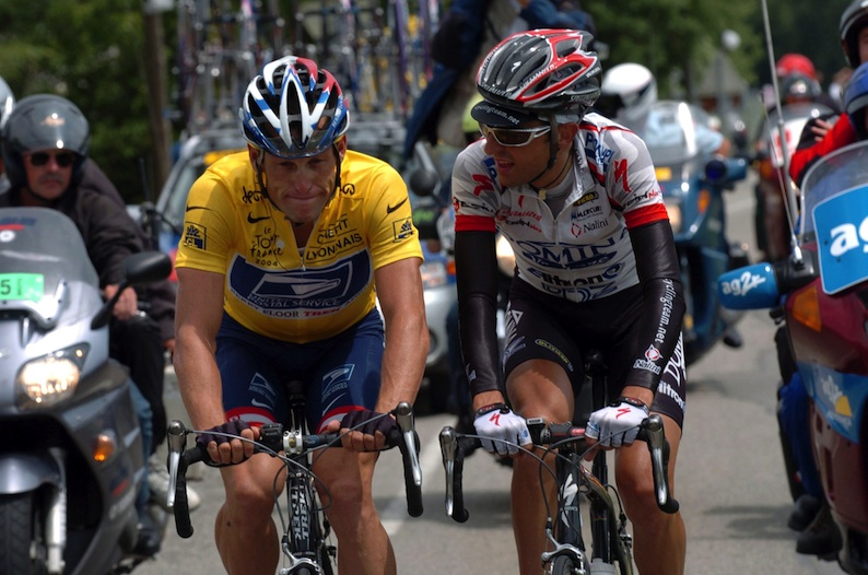 Lance Armstrong intimidated Filippo Simeoni on stage 18 of the 2004 Tour de France. Simeoni had spoken out against Armstrong's coach, Michele Ferrari.