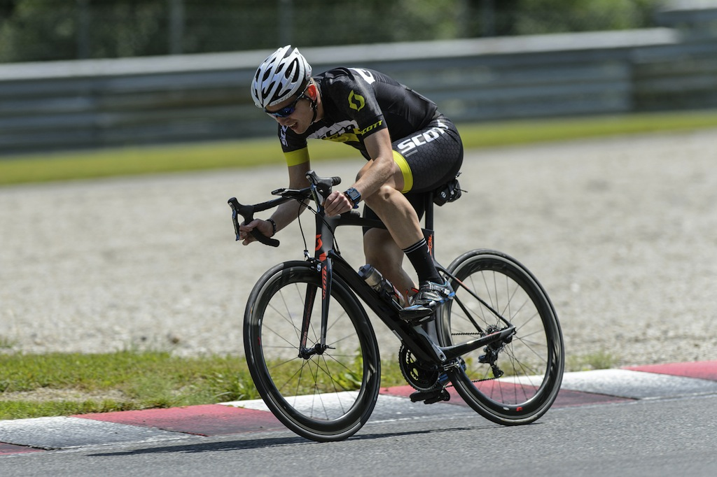 Yours truly putting the Foil through its paces on the Salzburgring race track.