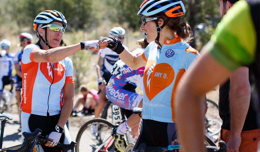 Mara Abbott thanked Amy D. Foundation teammate Julie Emmerman and the rest of the team for their work during stage 1.